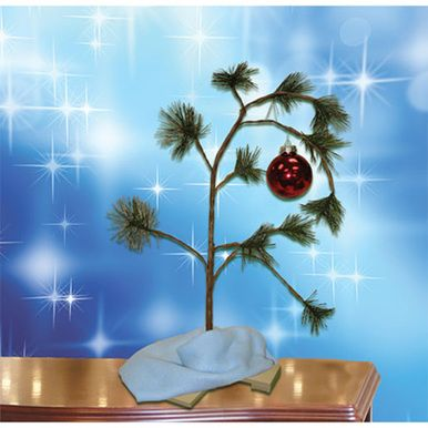 "Add this musical Charlie Brown Christmas Tree to your holiday decor. The tree is a replica of the one Charlie Brown chooses and lovingly decorates for the school play in the animated Christmas classic: ""A Charlie Brown Christmas"". Made of bendable wire and plastic needles this sparse little tree plays the Peanuts theme song, ""Linus and Lucy"" with the touch of a button. Tree is approx. 24"" tall. Ships from Ontario, Canada"