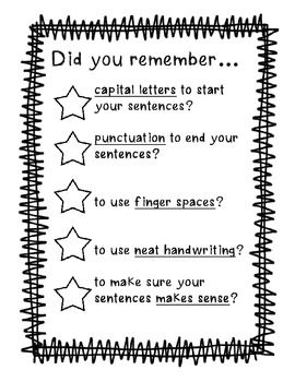 Good to glue on front flap of writing folder or post it at your writing center!