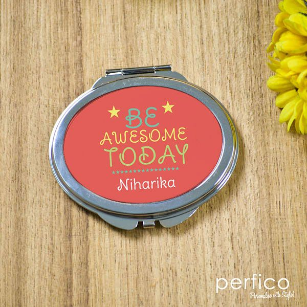 Be Awesome © Personalized Oval Pocket Mirror