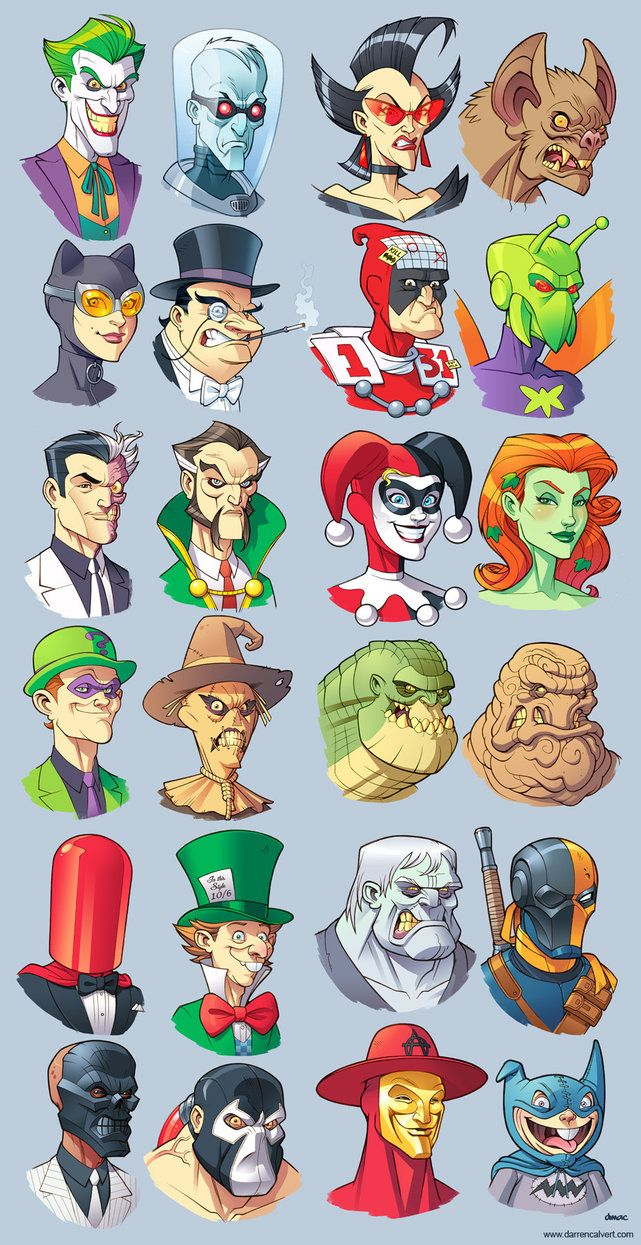 And here are all 24 of my Bat villain sketches so far. Top Row: The Joker, Mr. Freeze, Magpie, Man-Bat 2nd Row: Catwoman, Penguin, Calendar Man, Killer Moth 3rd Row: Two-Face, Ra's al Ghul, Harley ...