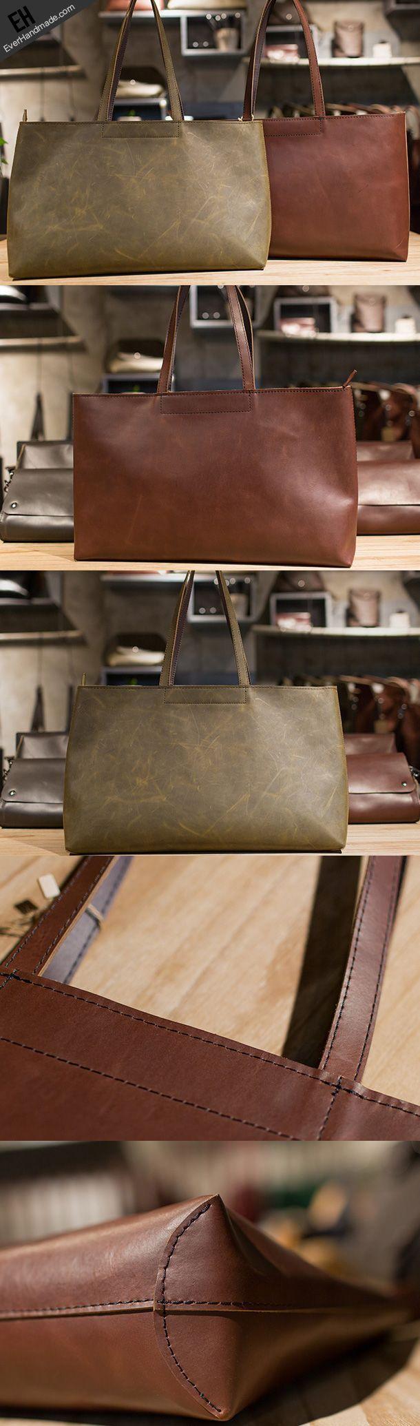 Handmade Leather vintage Big Large tote bag brown coffee for women leather shoulder bag