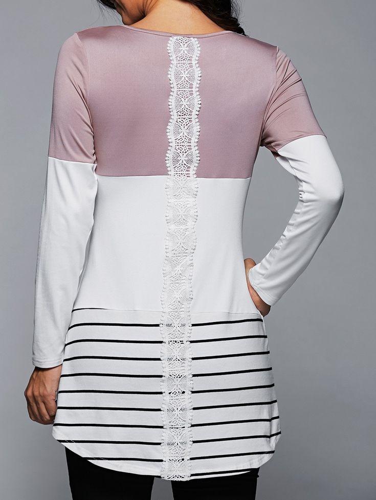 Stripe Back Lace Spliced Long Sleeve T-Shirt