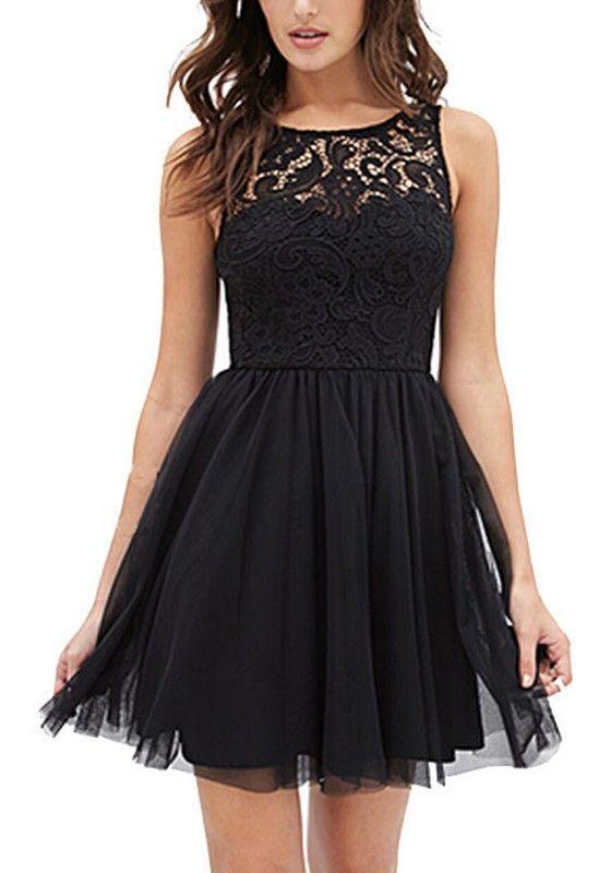 Schwarz Splicing Spitze Ruckenfreies Armellos Mit Tull Mini Kleid