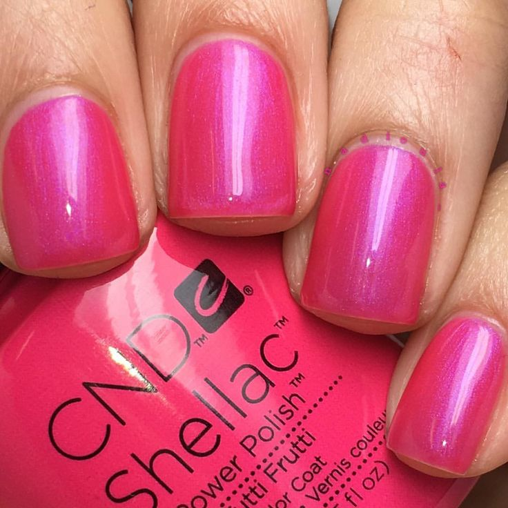 "Nadia on Instagram: ""@cndworld Shellac Tutti Frutti. I used CND Base Coat, 2 coats of Shellac Tutti Frutti, and topped off with CND Shellac Xpress5 Top Coat. Cured in the CND LED Lamp."""