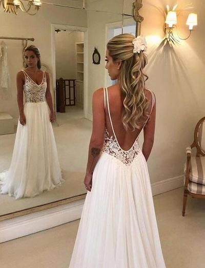 2019 Country Chiffon Beach Wedding Dresses Plus Size Sexy Backless A