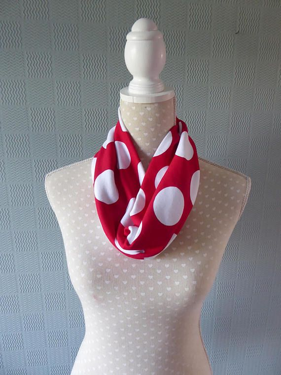 Red  and white polka dot snood scarf  spotted single loop