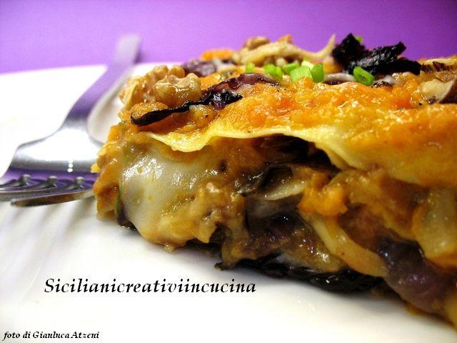 Lasagne vegetariane con zucca, radicchio, noci e taleggio