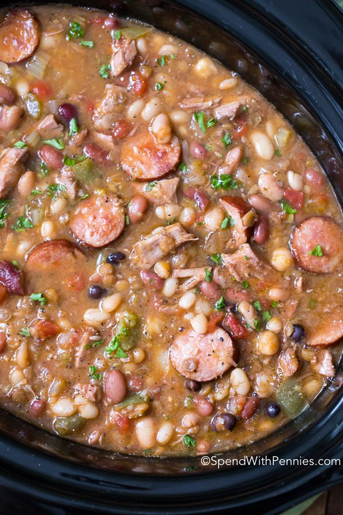 This easy 15 Bean Soup has leftover turkey and sausage creating a delicious hearty Crock Pot Soup that everyone raves over!