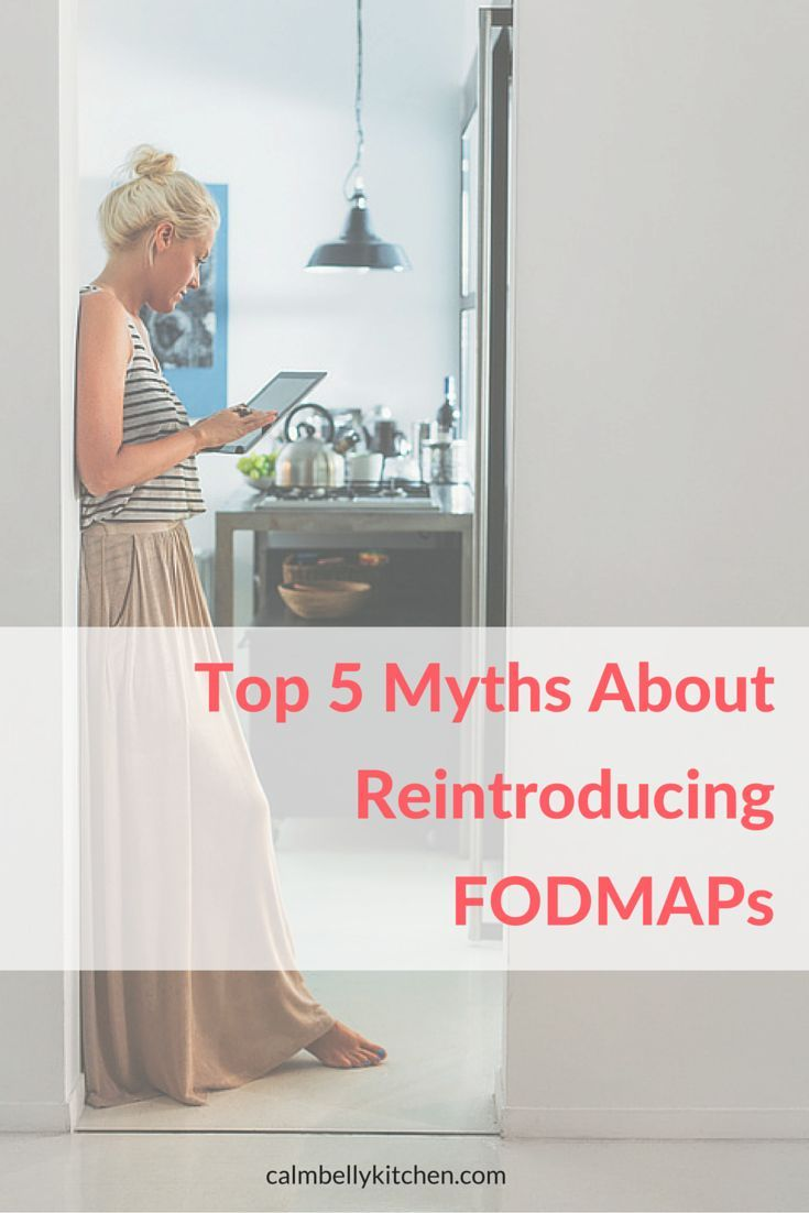 You won't get all the wonderful benefits of the FODMAP diet unless you do the elimination AND the reintroduction phases. But so many of us put it off or get held back by common myths about reintroduction fodmaps. I'm here to bust the top 5 myths I hear all the time, and show you how much better life can be if you learn your unique FODMAP triggers! Click through to calmbellykitchen.com to read the whole post.