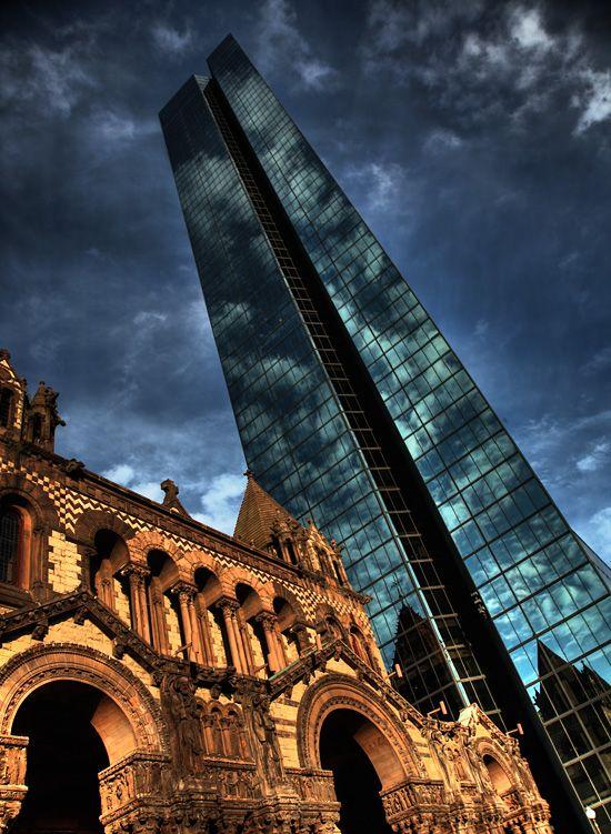Boston: Copley Square — Trinity Church and the John Hancock Tower