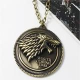 "Game of Thrones necklace House Stark Winter Is Coming Bronze 2"" Metal – accesoriex"