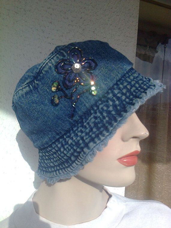 Vintage 90's blue jeans hat with small by Vintageandelegant, €24.00