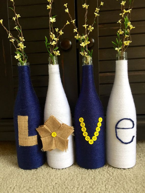 Yarn wrapped bottles wrapped wine