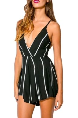 Black Striped Deep V Low Cut Backless Sexy Ladies Romper