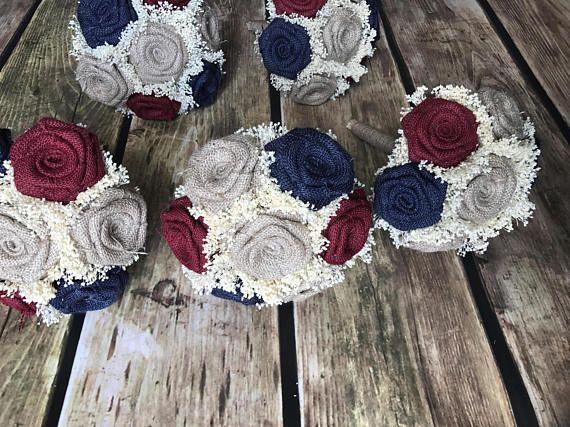 Burgundy Navy  & Natural Burlap Bridesmaids Bouquets Choose