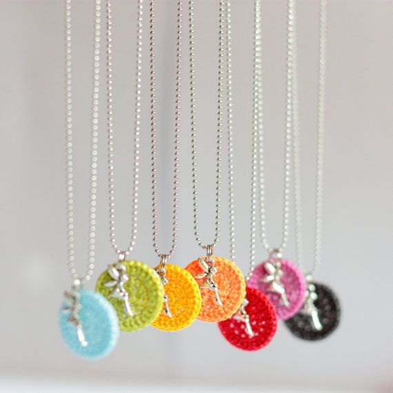 Items similar to Colorful crochet pendant // Fairy pendant necklace // Dainty necklace // Personalized necklace // Personalized pendant // Choose your color on Etsy