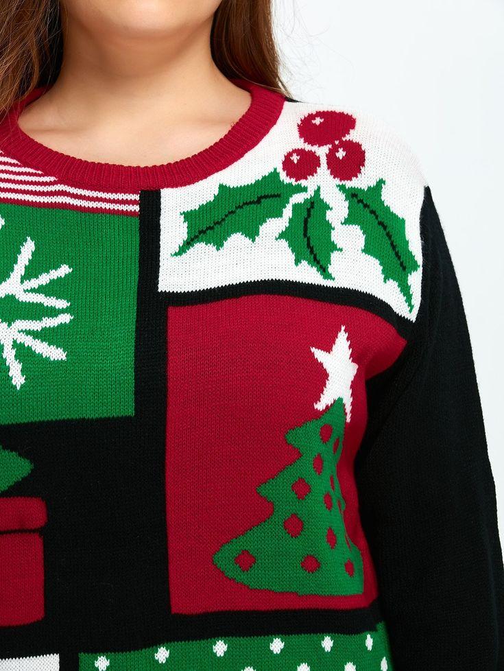 Christmas Tree Snowflake Pattern Cute Plus Size Sweater 11