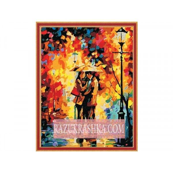 Раскраска по номерам Menglei «Любовь под дождем». Купить за 100000000000 р. в магазине Разукрашка.