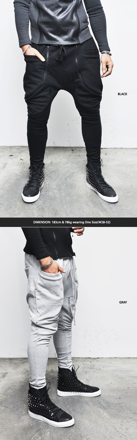 Bottoms :: Sweatpants :: Dual Zippered Rick Drop Crotch Baggy-Sweatpants 82 - Mens Fashion Clothing For An Attractive Guy Look