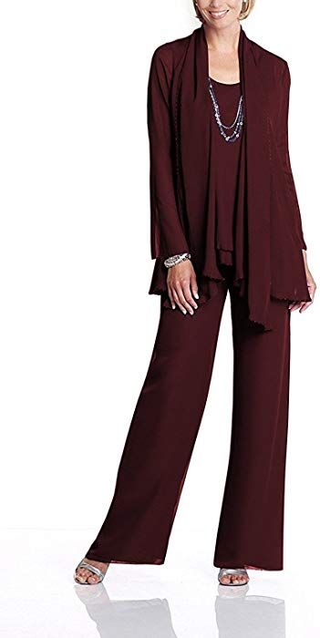 cd2efddec3c Fitty Lell Women s Chiffon Mother of The Bride Dress 3 Piece Pants Suit  with Jackt (US16