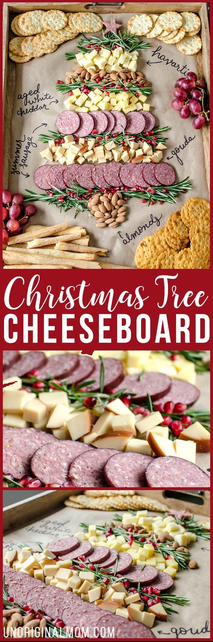Arbolito de picada navideña con queso, salames, uvas y galletitas