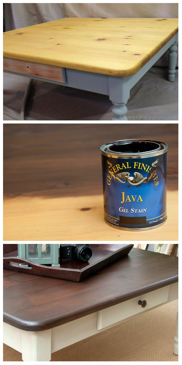 Salvaged Inspirations | General Finishes Java Gel Stain worked wonders on this hard to stain pine table. So easy to use... love it! #GeneralFinishes #JavaGelStain #MilkPaint