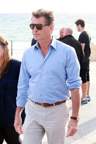 """A Long Way Down Film   ... - Pierce Brosnan and Aaron Paul film for """"A Long Way Down"""" in Spain"""