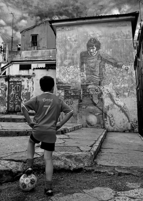 You stand and play where most players began in the Street! #football #soccer