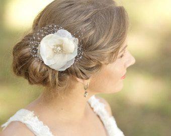 Wedding Hair flower Wedding hair piece Bridal hair pieces Champagne Hair Flowers Hair accessories vintage rustic wedding hair flowers