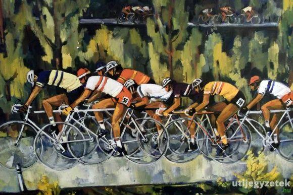 Kerékpáros kép az Egri Sportmúzeumban