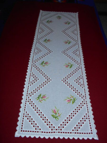Hardanger table runner with Cross Stitch Roses