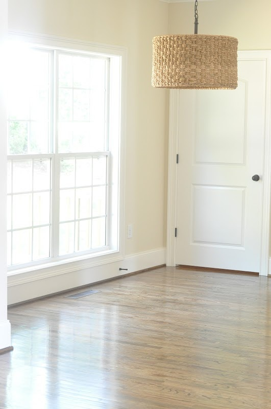 between you & me: A Blank Canvas. light fixture/wall color - Summer Breeze by Porter Paints