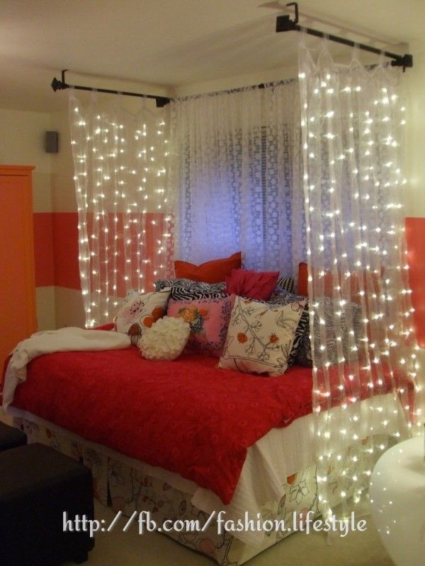 Cute DIY Bedroom Decorating Ideas   Decozilla love the curtain idea around  bed for girls room I also thought about this goingfrom one pole over the  top to. 17 Best images about Cool Stuff for Girls on Pinterest   Purple