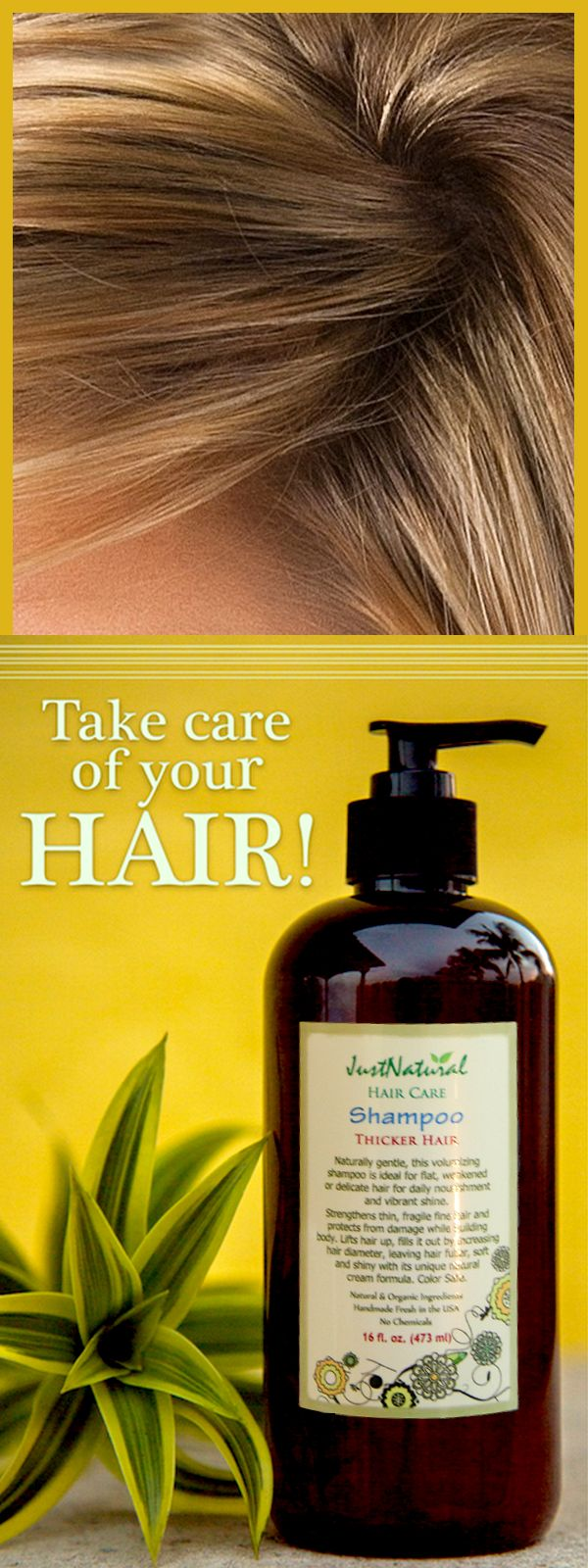 Right away your hair begins to thicken as the rich nutrients in this shampoo are absorbed by each hair strand. Encourage your hair to grow thicker and fuller with Just Natural's Thicker Hair Shampoo. Find it at http://www.justnaturalskincare.com/hair-thicker/thicker-hair-shampoo.html
