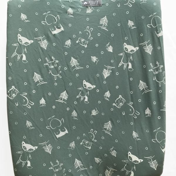 Sage Forest Friends | 100% cotton knit fabric | Fits standard size change mat size of 56 x 46 x 12 cm (length x width x height)