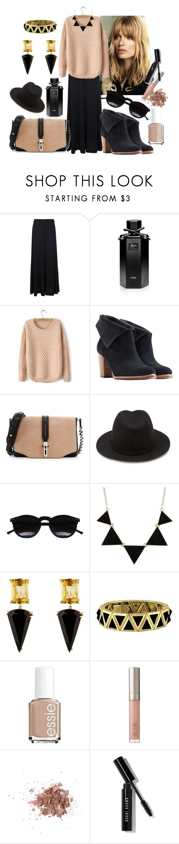 """""""Юбка+свитер"""" by elona-makavelli ❤ liked on Polyvore featuring Mode, French Connection, Gucci, UGG Australia, rag & bone, Forever 21, Chicnova Fashion, CO, House of Harlow 1960 und Essie"""