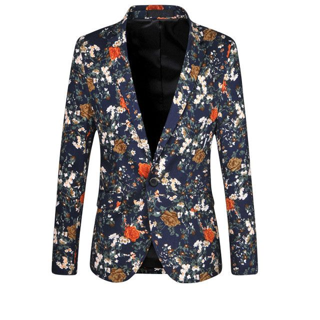 Mens Floral Blazer Fashion Business Brand Clothing Blazer Jacket Slim Veste Homme Mariage Casual Coats Free Shipping Size:5XL 6X