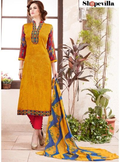 Latest Designer Mustard Cotton Straight  Pant Style Suit-51007
