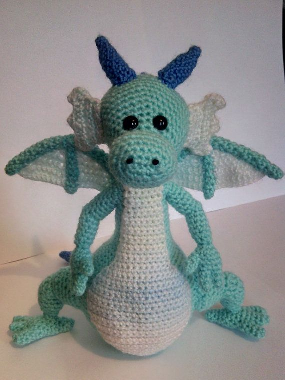 Crochet Dragon  Soft toy dragon  Blue by CarrotTopsCharacters