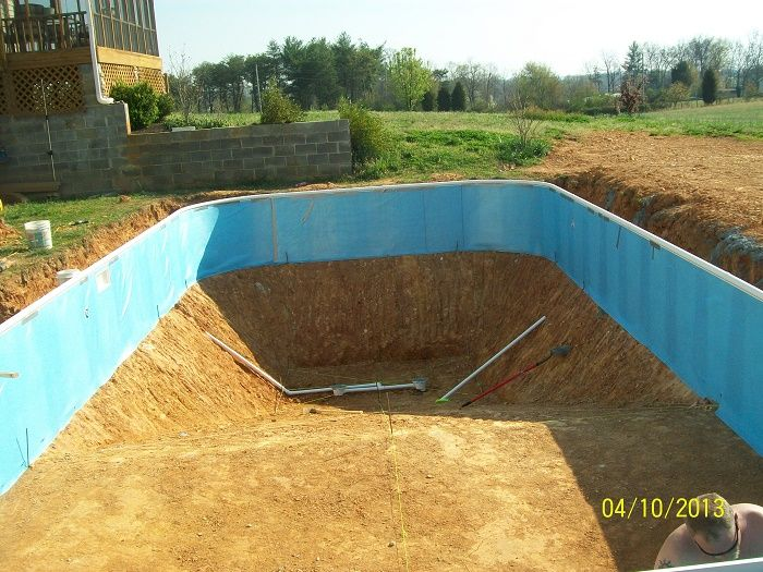 Main Drains Installed Walls Foamed Ready For Bottom In Ground Pool Installation In Ground