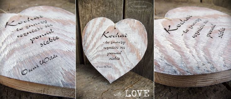 Wooden heart with love-related quote