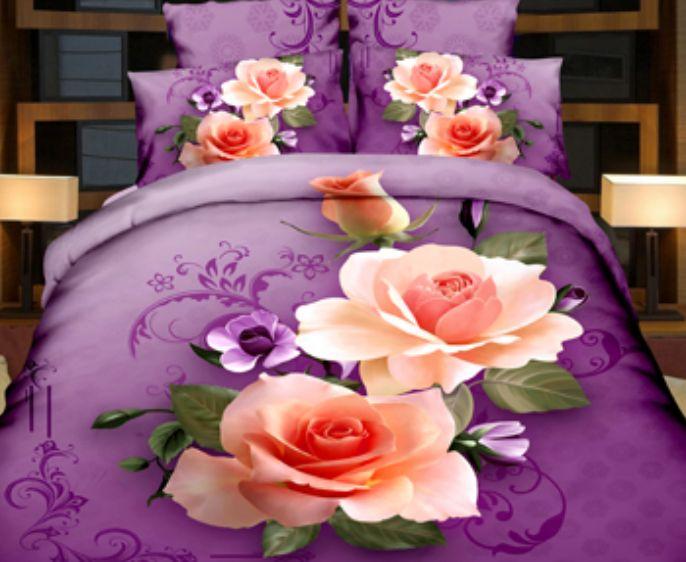 3D fialové posteľné obliečky z mikrovlákna s ružou