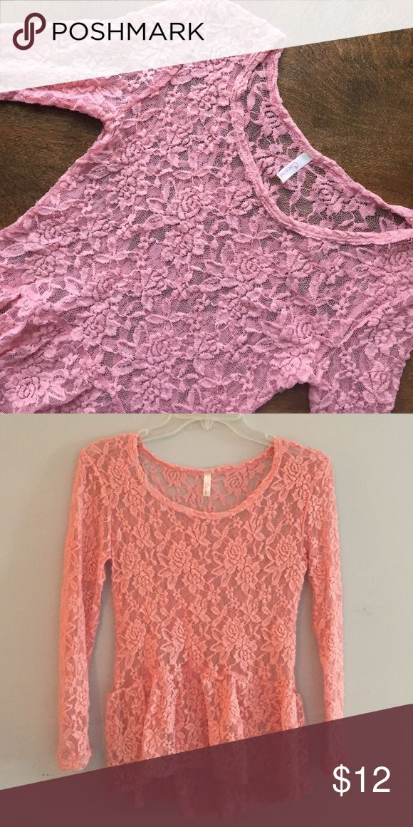 Lace Peplum Top! 💖 Pink Lace Peplum Top. Size Small. Only worn once. In excellent condition. Tops Blouses