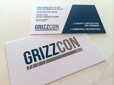 Business cards for Grizzcon Pty Ltd. #grizzcon #businesscards #juliareader #printing