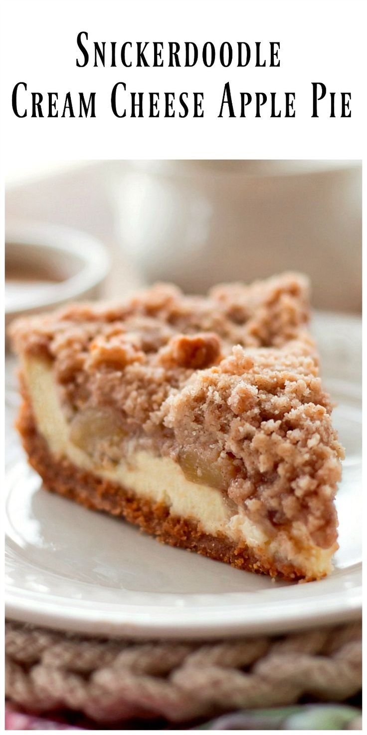 Snickerdoodle Cream Cheese Apple Pie is made with a snickerdoodle cookie crust, a layer of cream cheese, chopped apple pie filling and a snickerdoodle crumb topping. via @https://www.pinterest.com/BunnysWarmOven/bunnys-warm-oven/