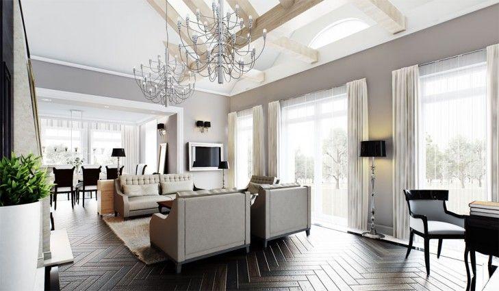 Projekt pokoju dziennego w stylu rezydencjonalnym -Tissu. Pomieszczenie zdobią stylowe meble, ciemny drewniany parkiet oraz eklektyczne lampy i żyrandole