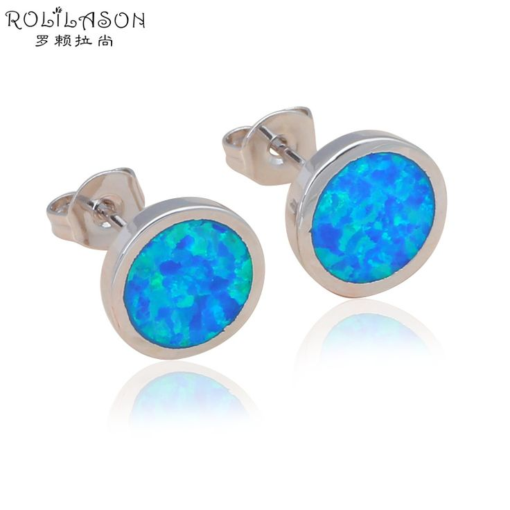 Blue Fire Opal Silver Stud Earrings Mother's day gift Party for women Wholesale & Retail Fashion Jewelry OE524