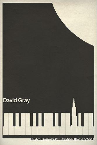 David Gray Gig Poster - Chicago   by Hunter Langston