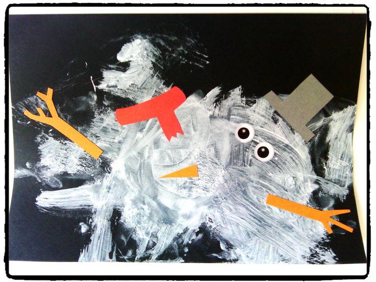 bonhomme de neige, bricolage hiver, bricolage enfant, peinture, hiver