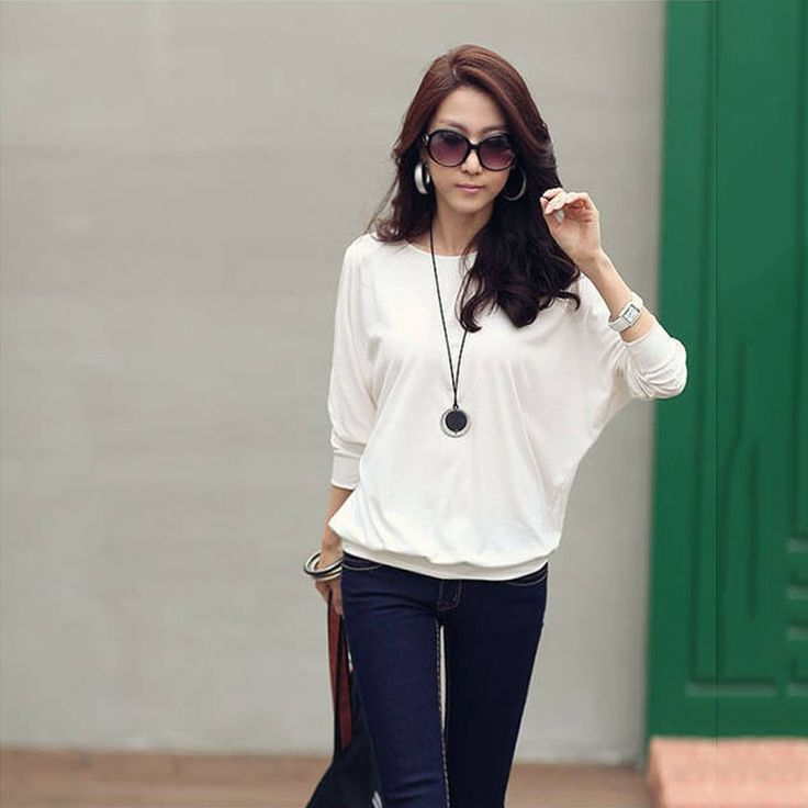 New Loose Women's Blouse T-shirt Cotton Batwing Lace Sleeve Tops White